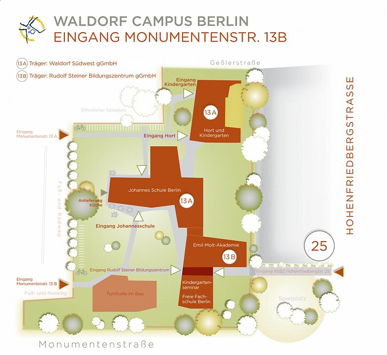 Infotafeln WALDORFCAMPUS Monumentenstraße13B Pfad verkleinert